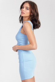 blue blush Square Neck Bodycon Dress - Side cropped
