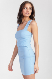 blue blush Square Neck Bodycon Dress - Back cropped