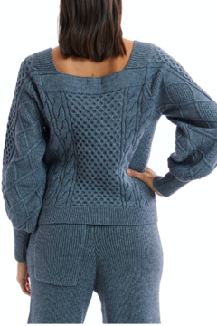 Allison Collection Square Neck Cable Knit Sweater - Alternate List Image
