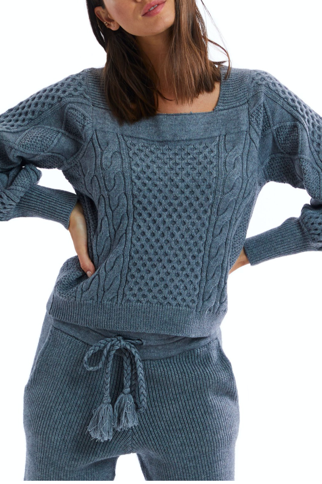 Allison Collection Square Neck Cable Knit Sweater - Front Full Image