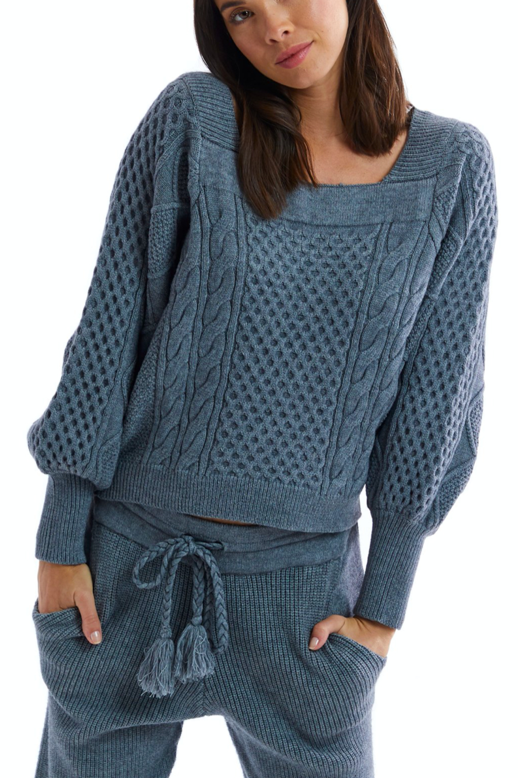 Allison Collection Square Neck Cable Knit Sweater - Main Image