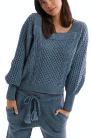 Allison Collection Square Neck Cable Knit Sweater - Front cropped