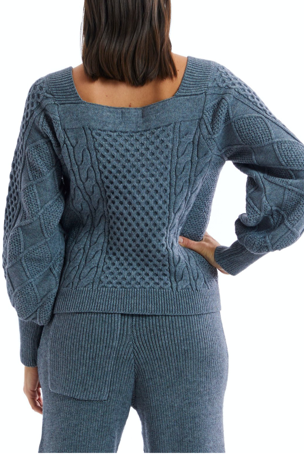 Allison Collection Square Neck Cable Knit Sweater - Side Cropped Image