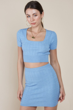 blue blush Square Neck Cropped Sweater - Product List Image