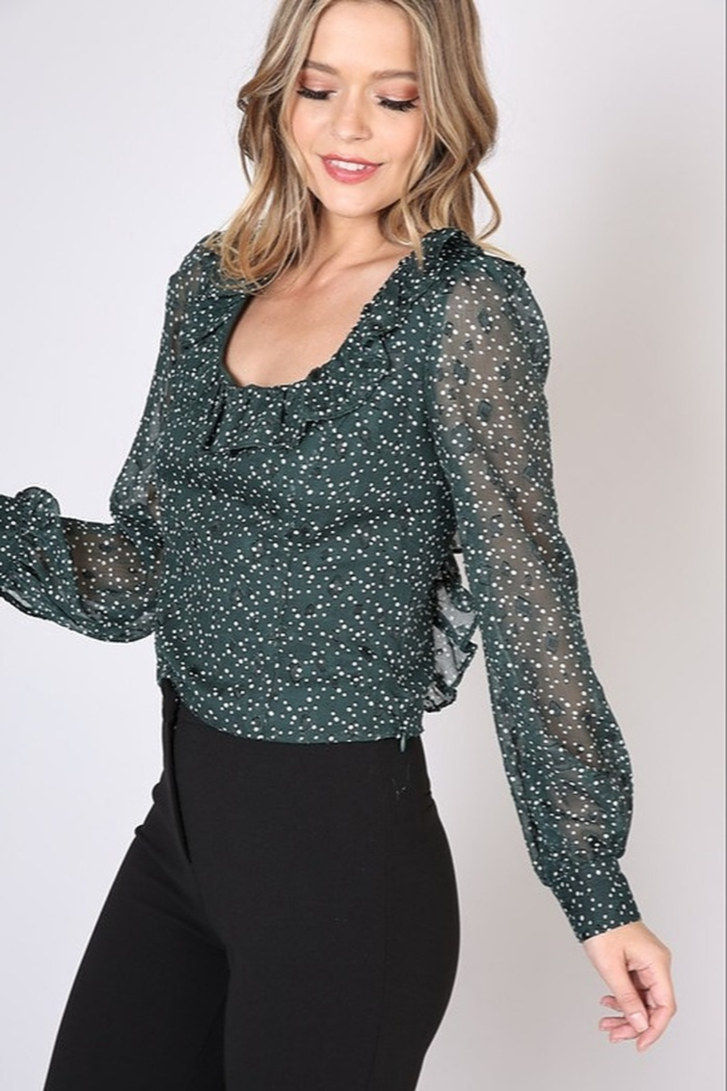 Do + Be  Square Neck Polka Dot Top - Side Cropped Image