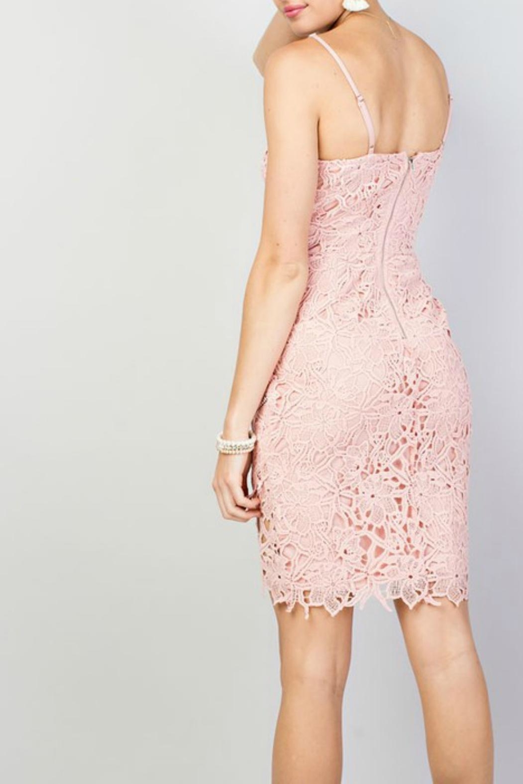 Pretty Little Things Squared Lace Dress - Front Full Image