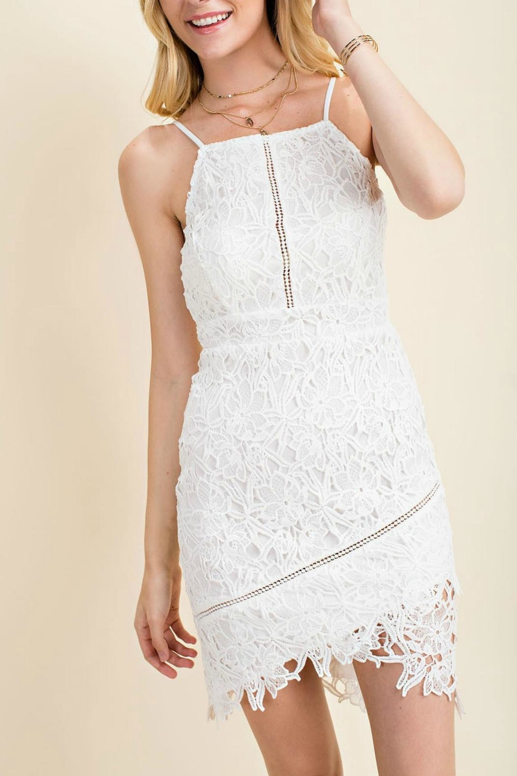 Pretty Little Things Squared Lace Dress - Main Image