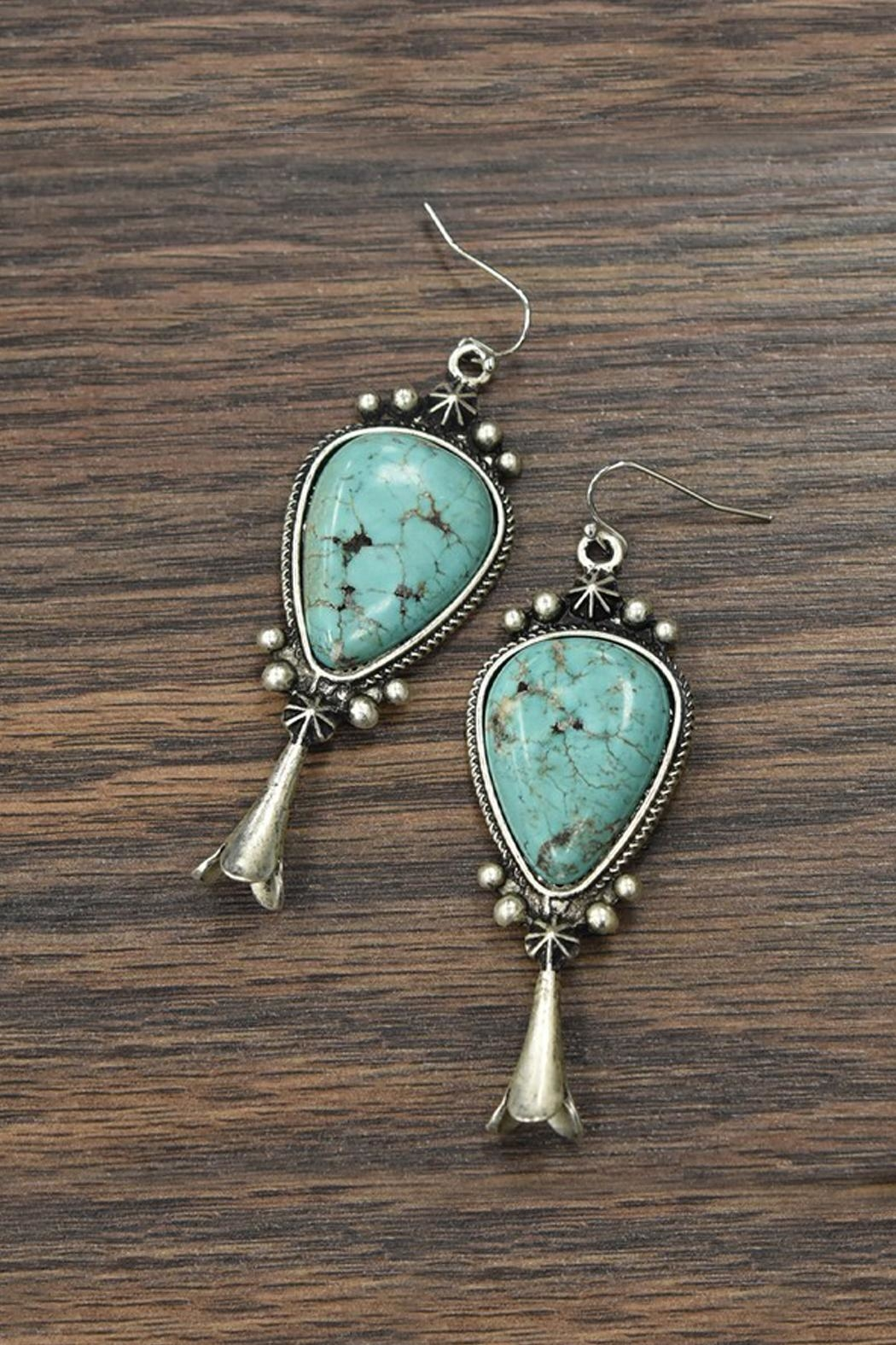 JChronicles Squash-Blossom Natural-Turquoise Earrings - Main Image