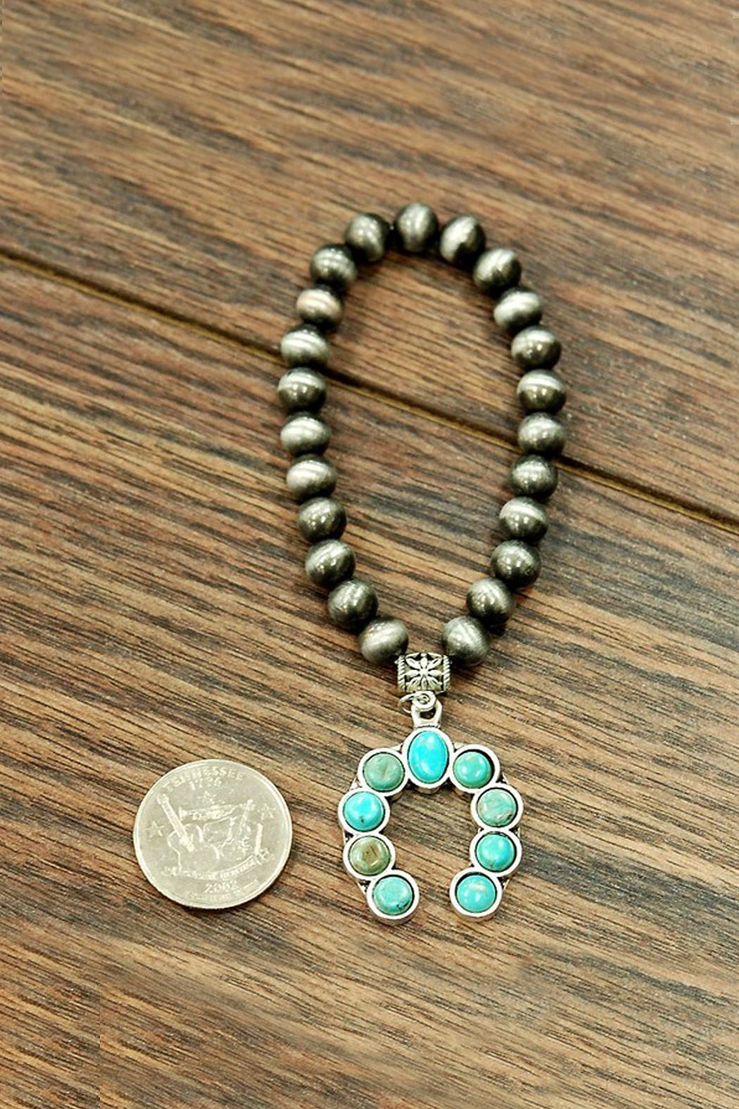 JChronicles Squash-Blossom Natural-Turquoise Stretch-Bracelet - Front Full Image