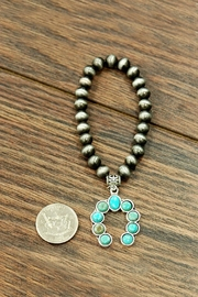 JChronicles Squash-Blossom Natural-Turquoise Stretch-Bracelet - Front full body