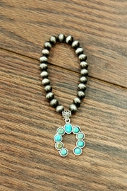 JChronicles Squash-Blossom Natural-Turquoise Stretch-Bracelet - Product Mini Image