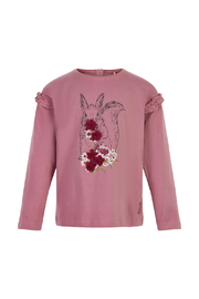 Minymo Squirrel Shirt - Mesa Rose - Front cropped