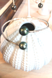 Maka Imports Hawaii SS Tahitian Pearl Cuff - Hand Pounded - Front cropped