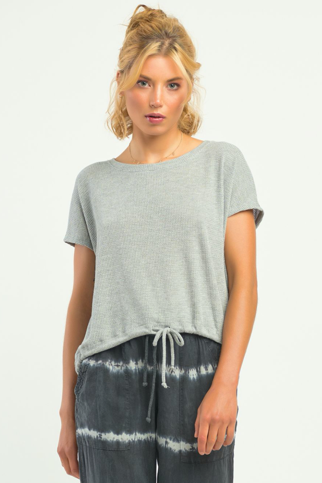 Dex SS WAFFLE DRAWSTRING HEM TEE - Front Cropped Image