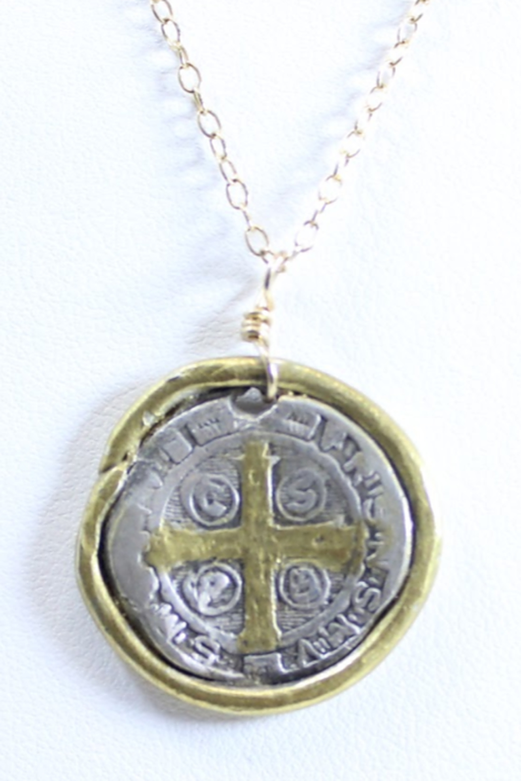 The Birds Nest ST. BENEDICT MEDALLION NECKLACE - 8.5 INCH CHAIN - Front Full Image