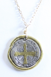 The Birds Nest ST. BENEDICT MEDALLION NECKLACE - 8.5 INCH CHAIN - Front full body