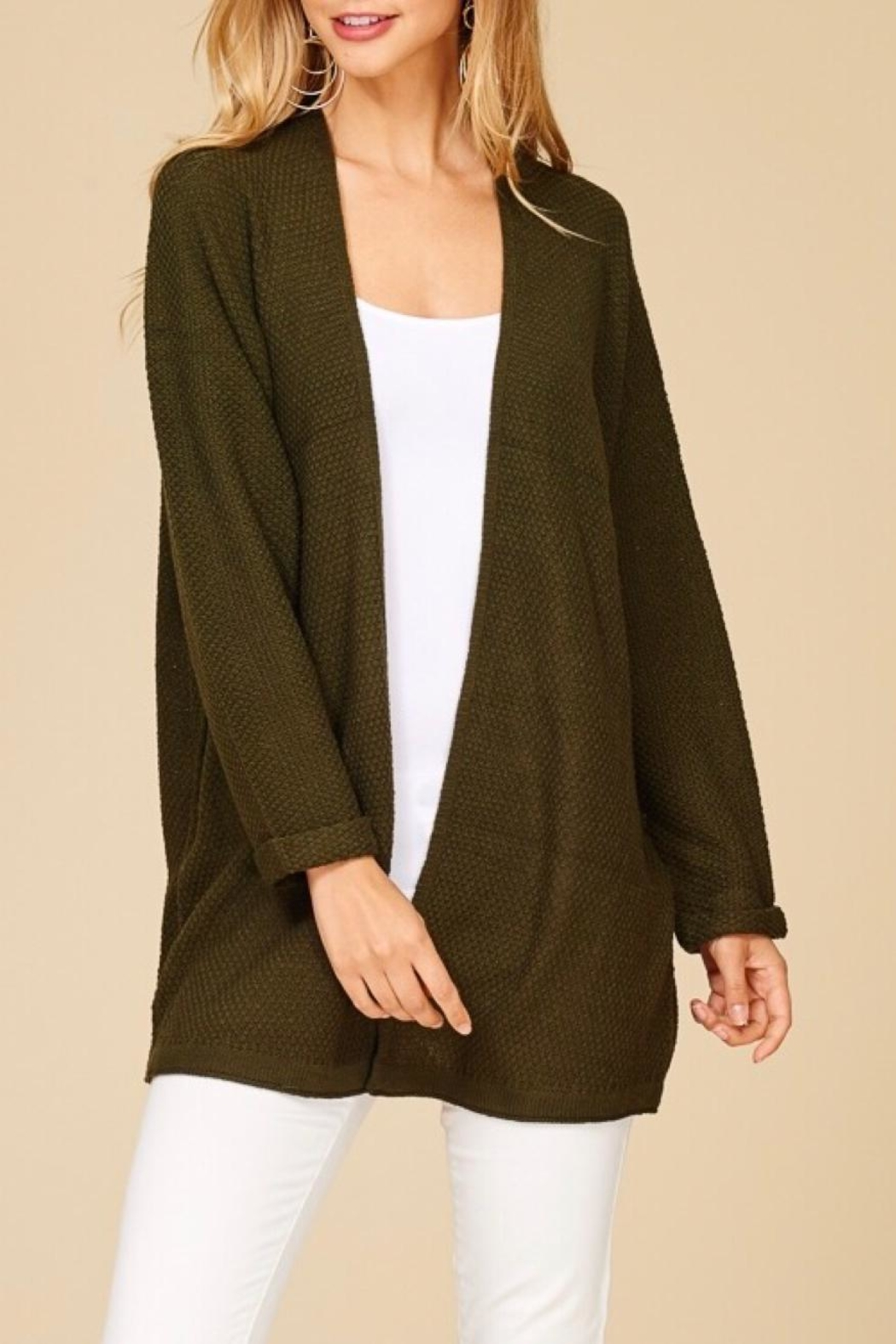 Staccato Back Lace-Up Cardigan - Front Cropped Image