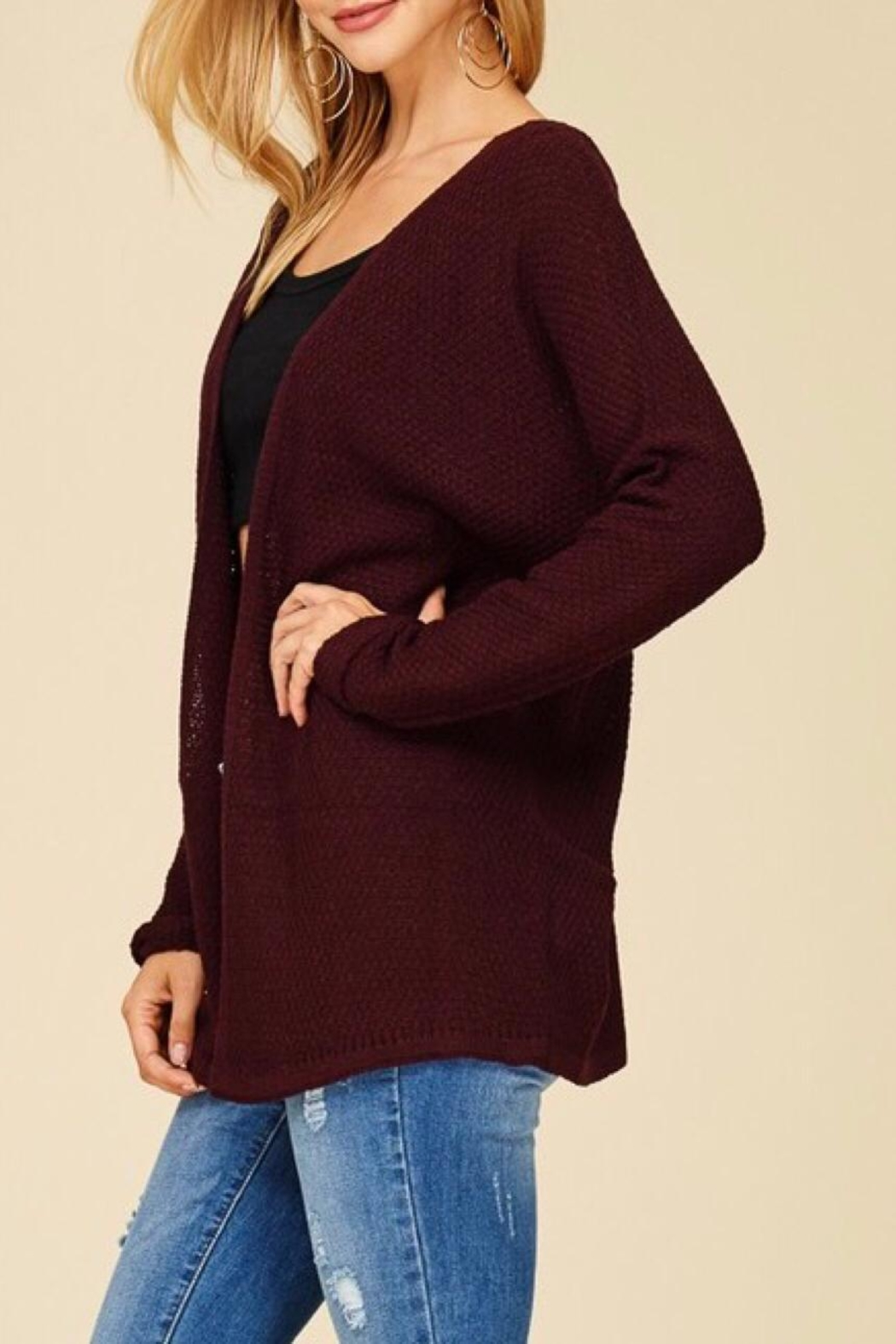 Staccato Back Lace-Up Cardigan - Side Cropped Image