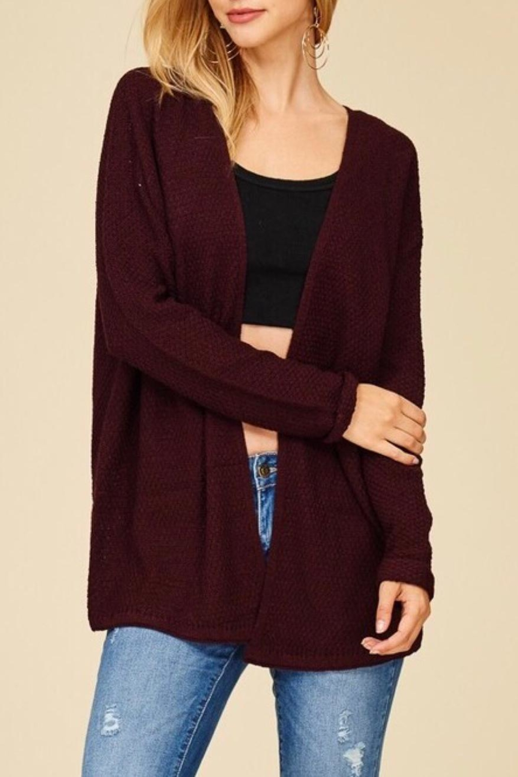 Staccato Back Lace-Up Cardigan - Front Full Image
