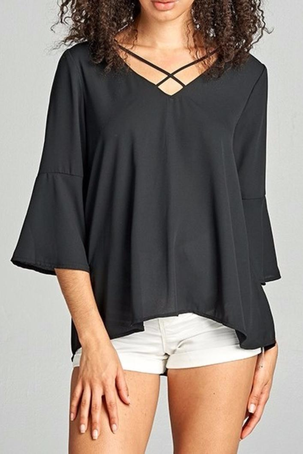 Staccato Black Bell Top - Front Cropped Image