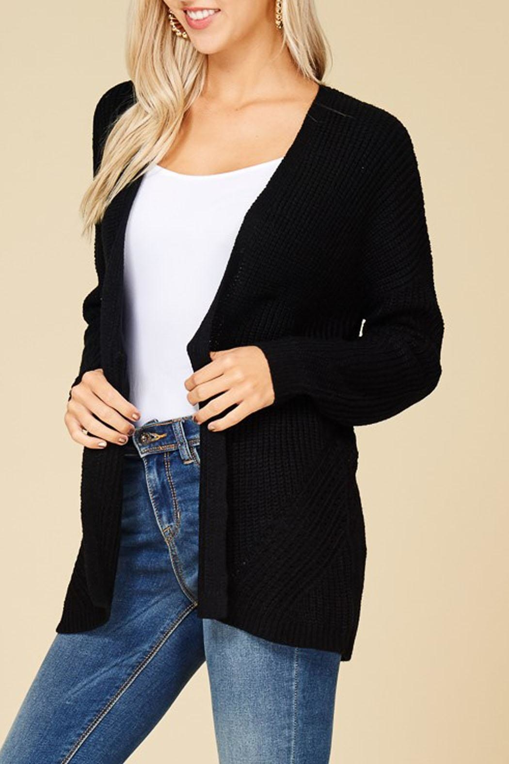 Staccato Black Knit Cardigan - Front Full Image
