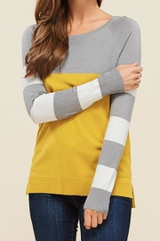 Staccato Blocked Ivory/mustard Sweater - Product Mini Image