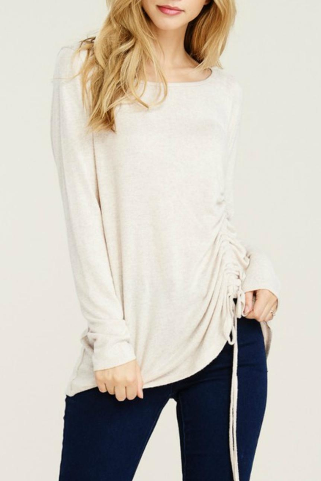 Staccato Brushed Drawstring Tunic - Front Cropped Image