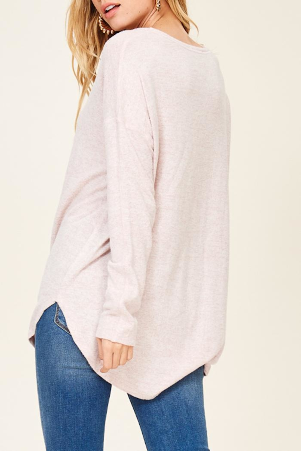 Staccato Brushed Vneck Tunic - Side Cropped Image