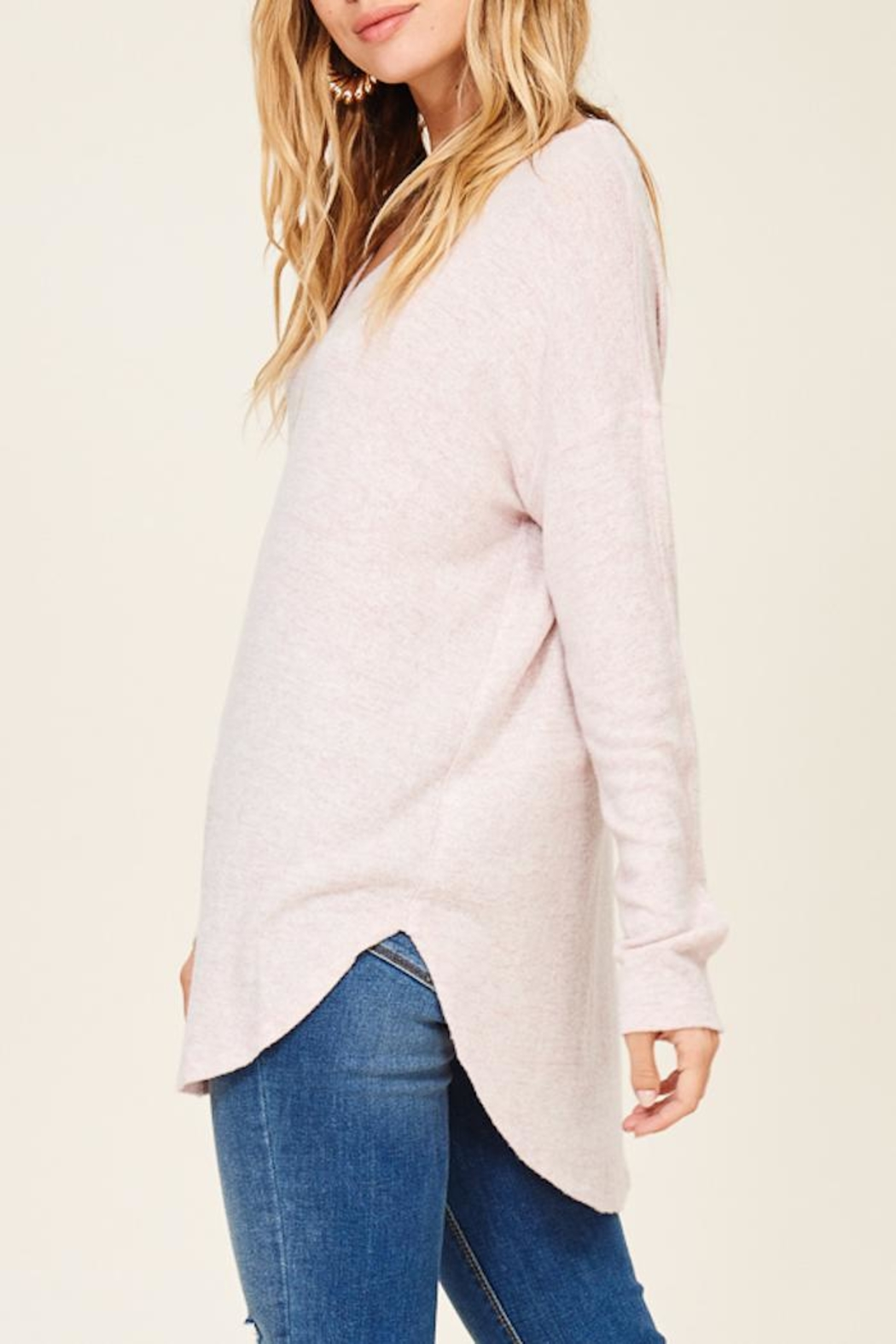 Staccato Brushed Vneck Tunic - Front Full Image