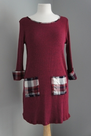 Staccato Burgundy Plaid-Detail Dress - Product Mini Image