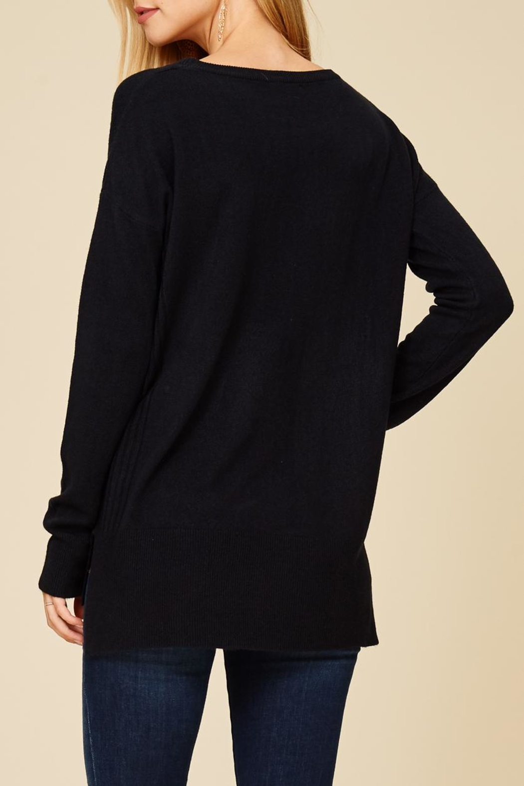 Staccato Center Seam Sweater Top - Front Full Image