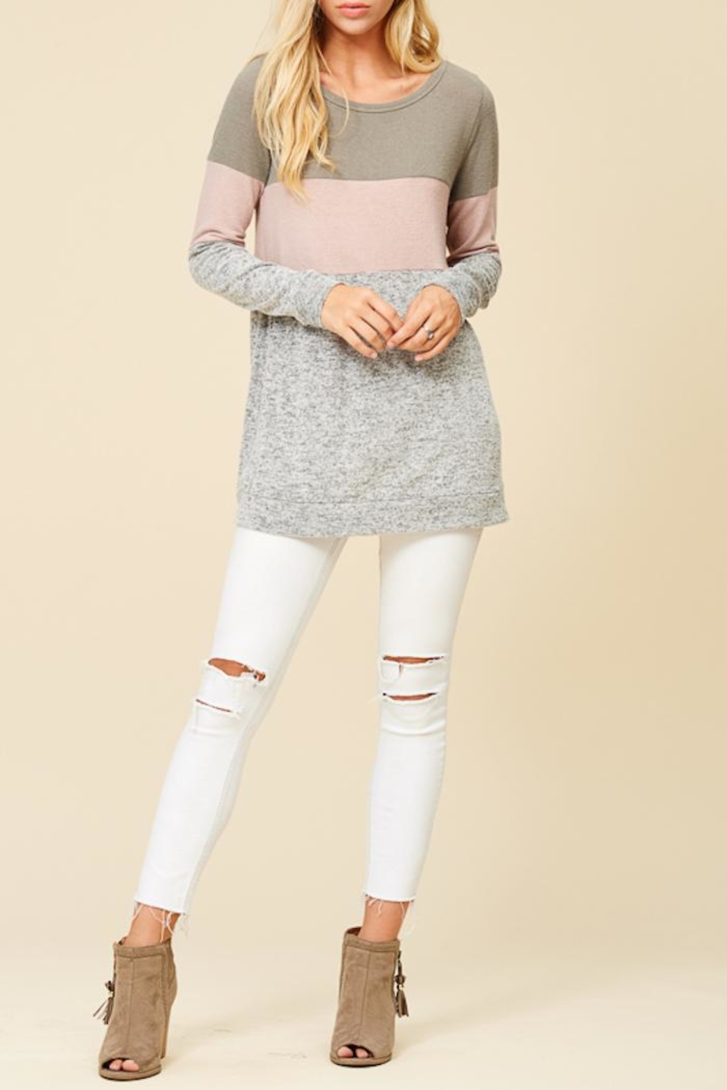 Staccato Color Combo Tunic Top - Main Image