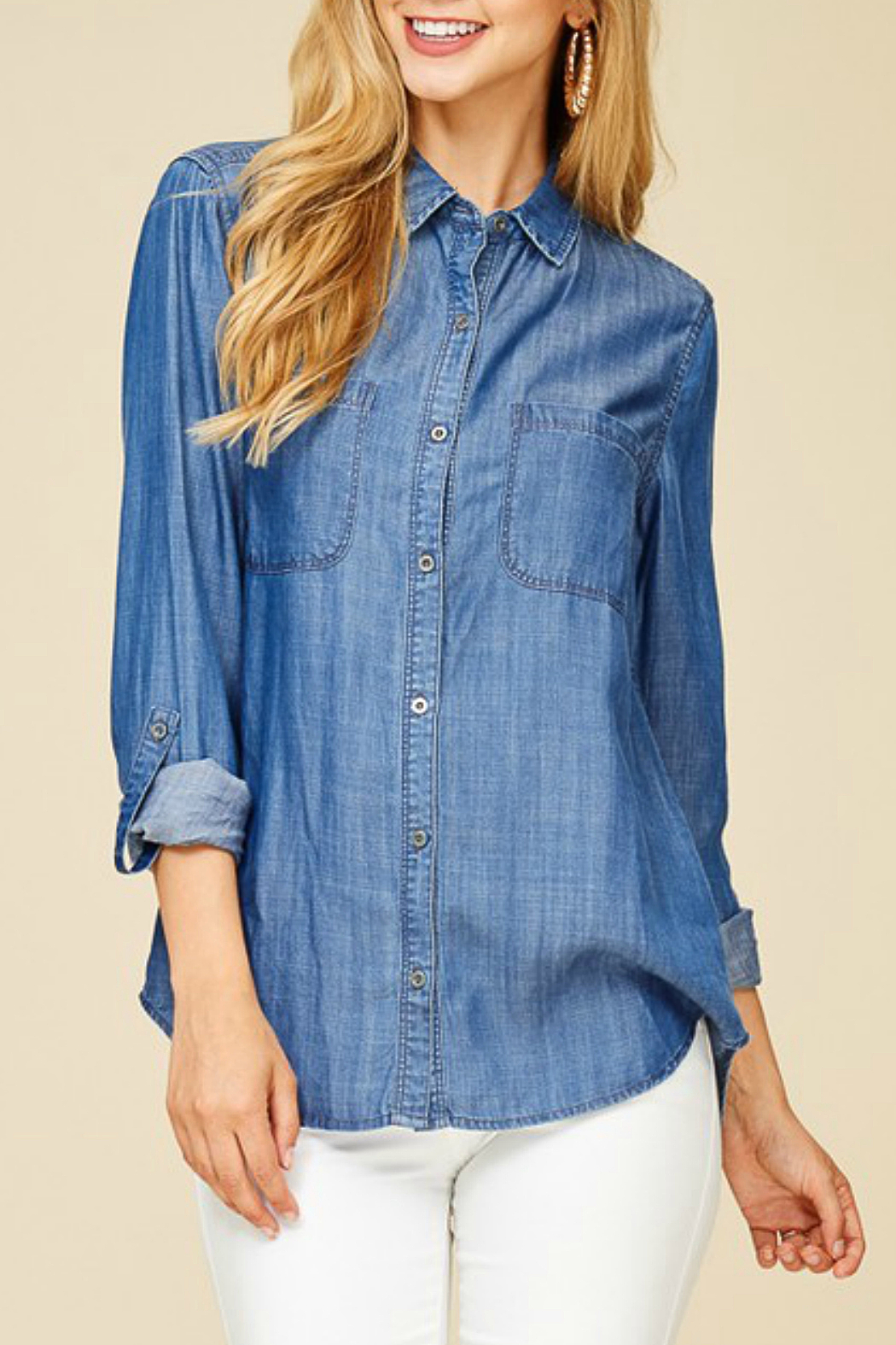 Staccato Denim Button-Down Shirt - Front Full Image