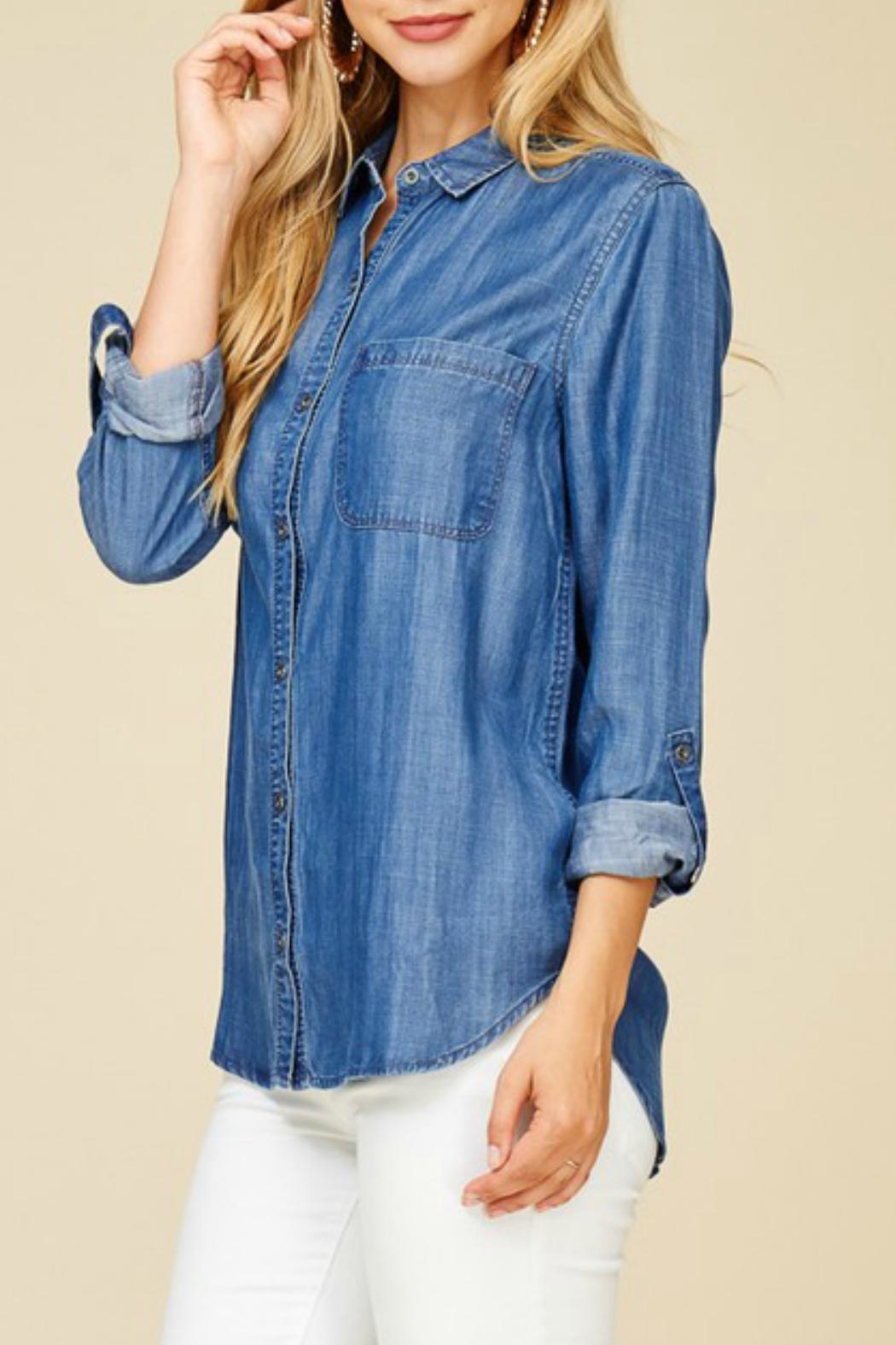 Staccato Denim Button-Down Shirt - Side Cropped Image
