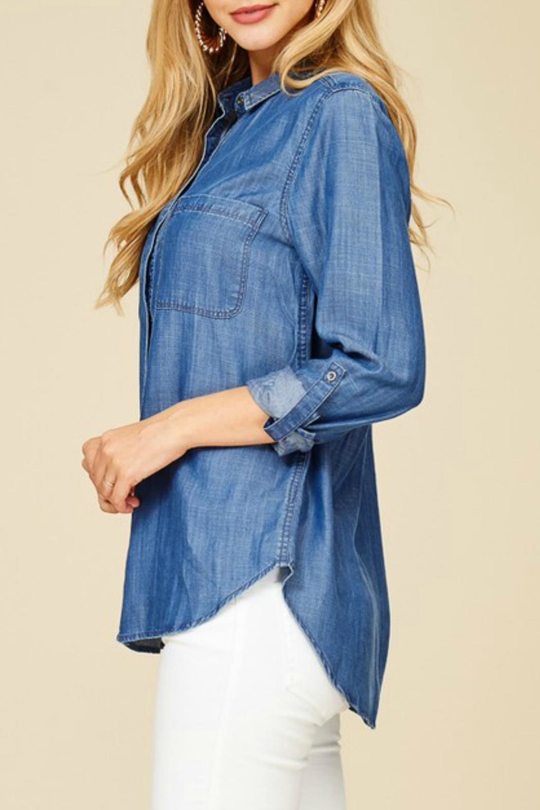 Staccato Denim Button-Down Shirt - Back Cropped Image