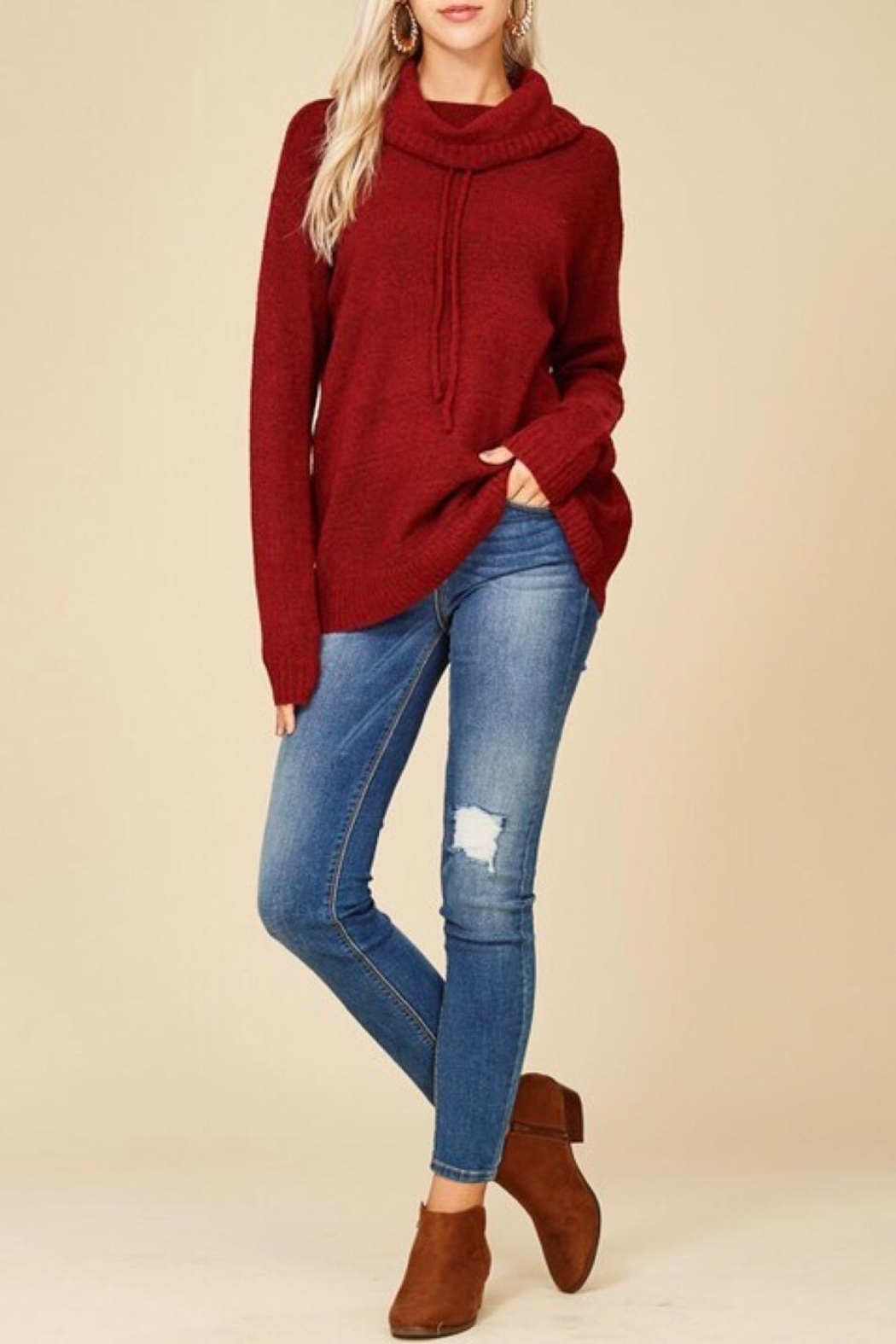 Staccato Drawstring Cowl Sweater - Back Cropped Image