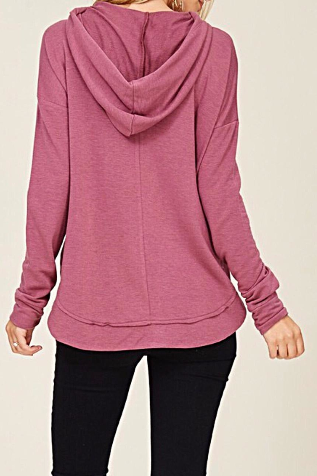 Staccato Drawstring Hooded Top - Back Cropped Image