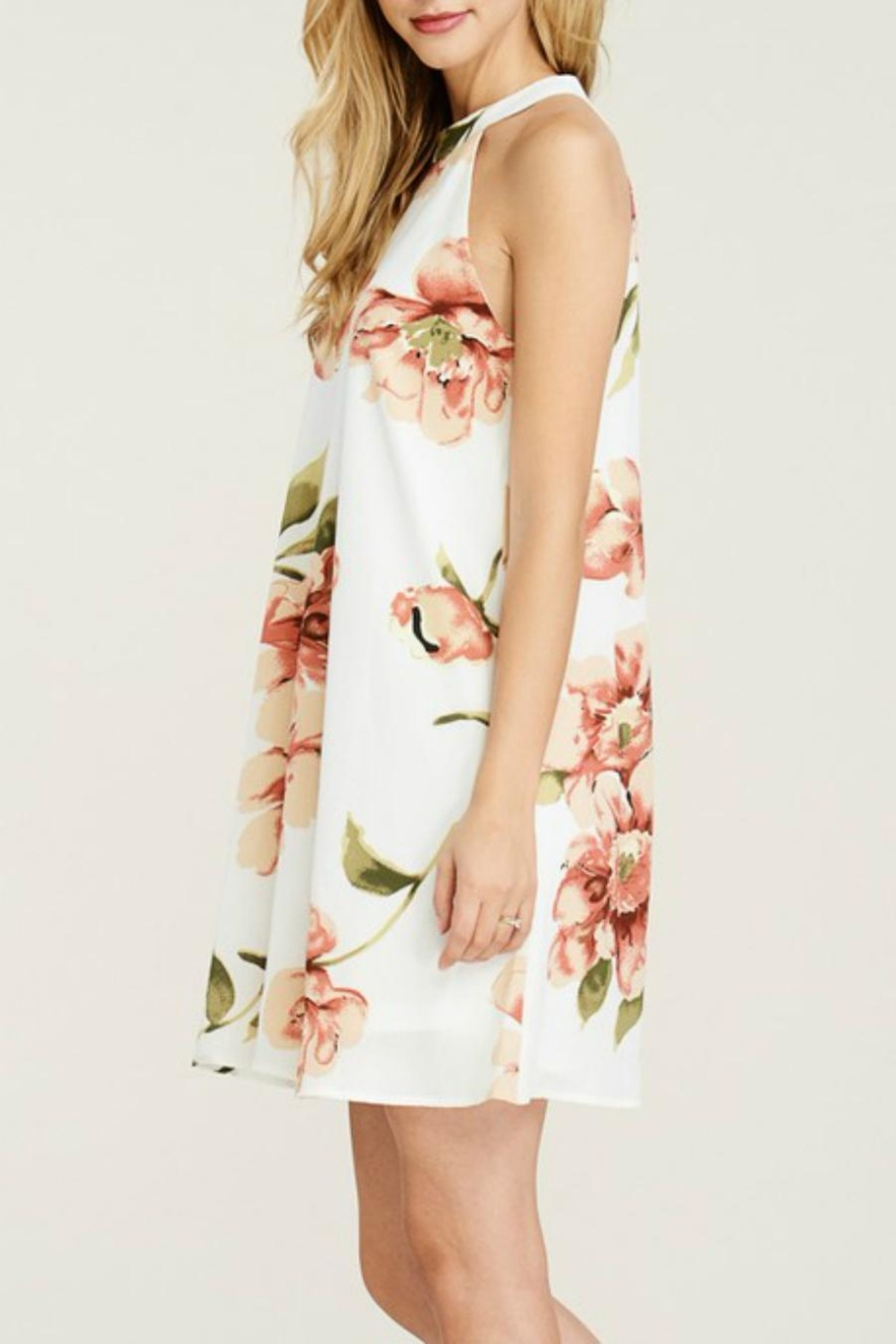 Staccato Floral Halter Dress - Front Full Image