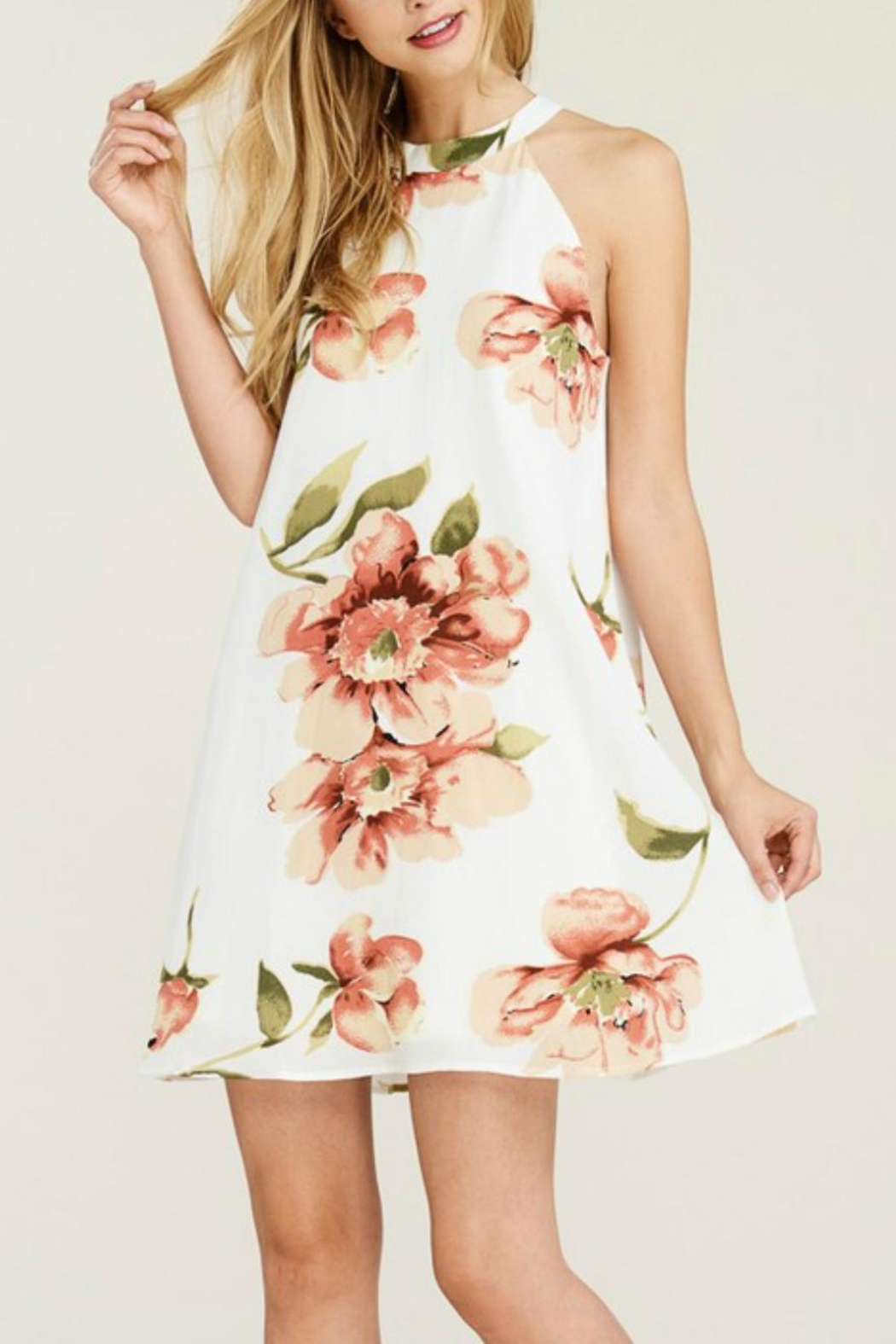 Staccato Floral Halter Dress - Main Image