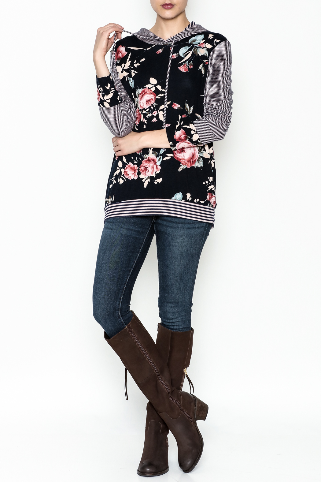 Staccato Floral Hoodie - Side Cropped Image