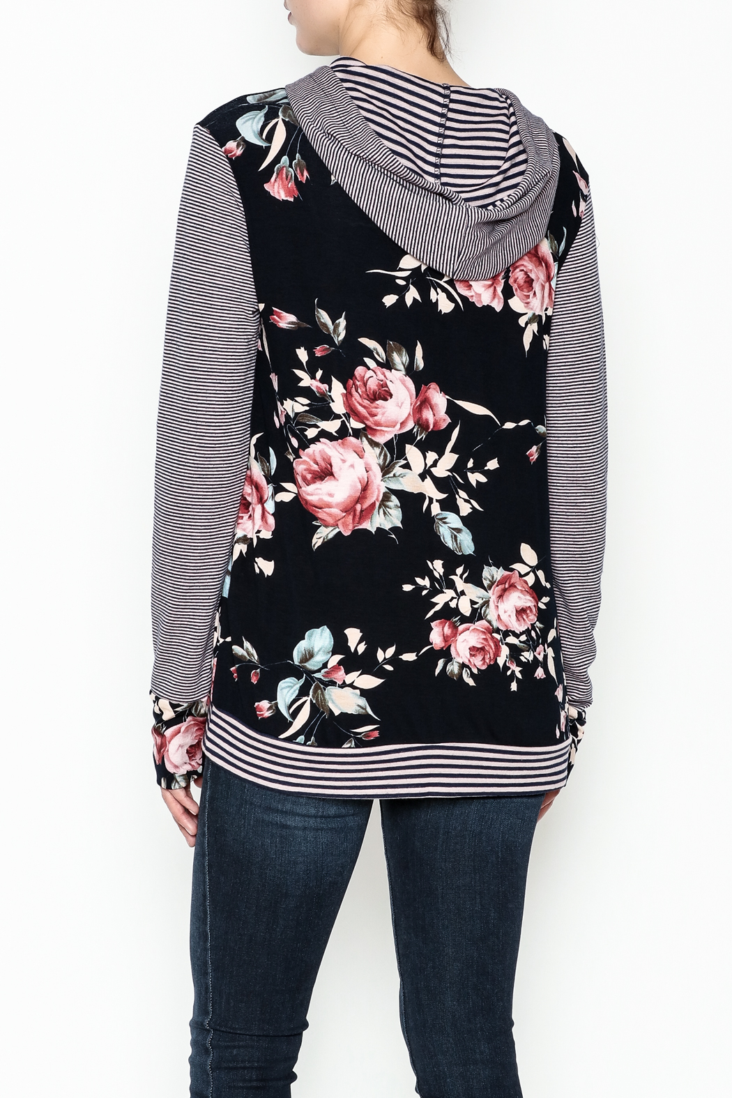 Staccato Floral Hoodie - Back Cropped Image