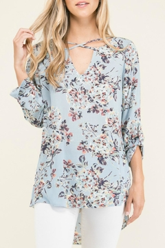 Staccato Floral Print Crisscross Top - Product List Image