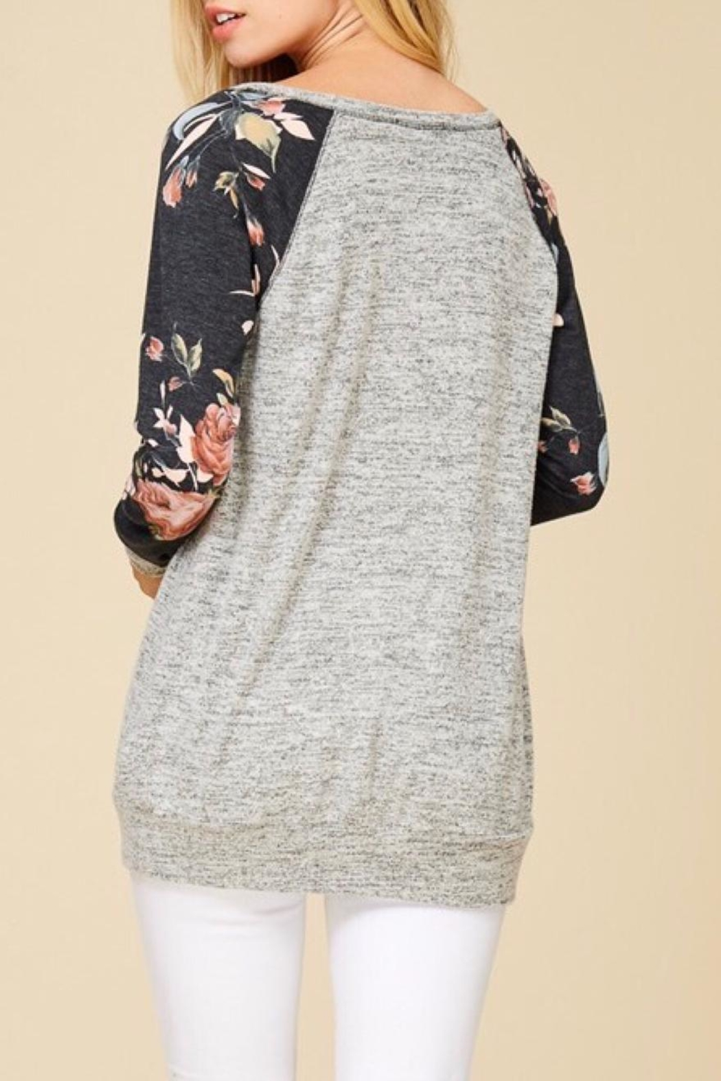 Staccato Floral Raglan Top - Side Cropped Image