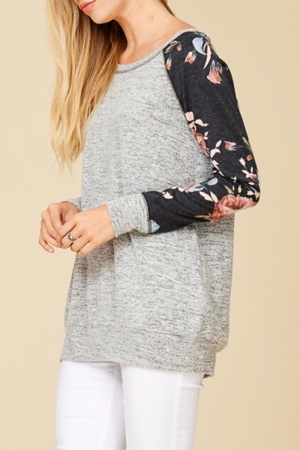 Staccato Floral Raglan Top - Front Full Image