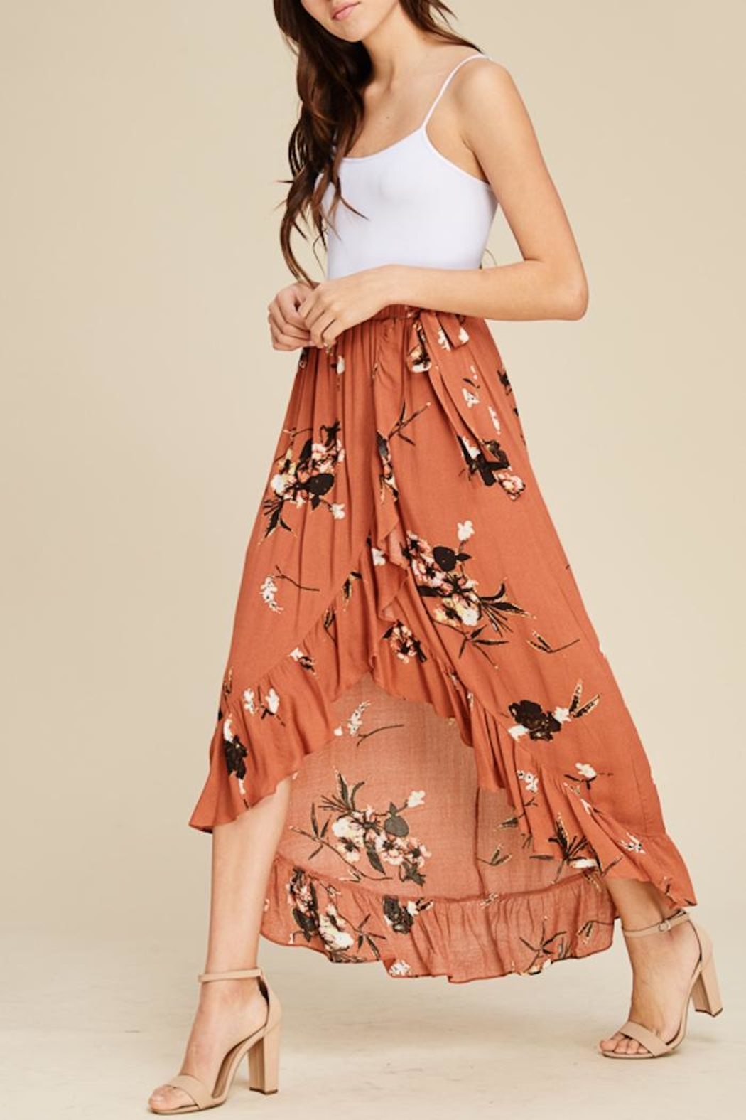 Staccato Floral Ruffle Skirt - Side Cropped Image