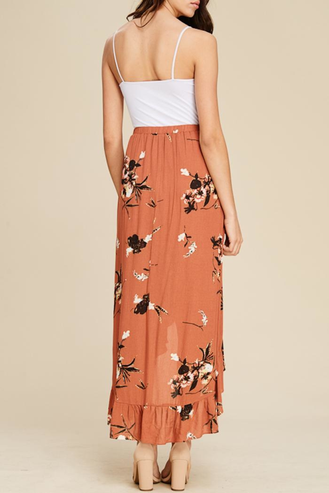 Staccato Floral Ruffle Skirt - Back Cropped Image