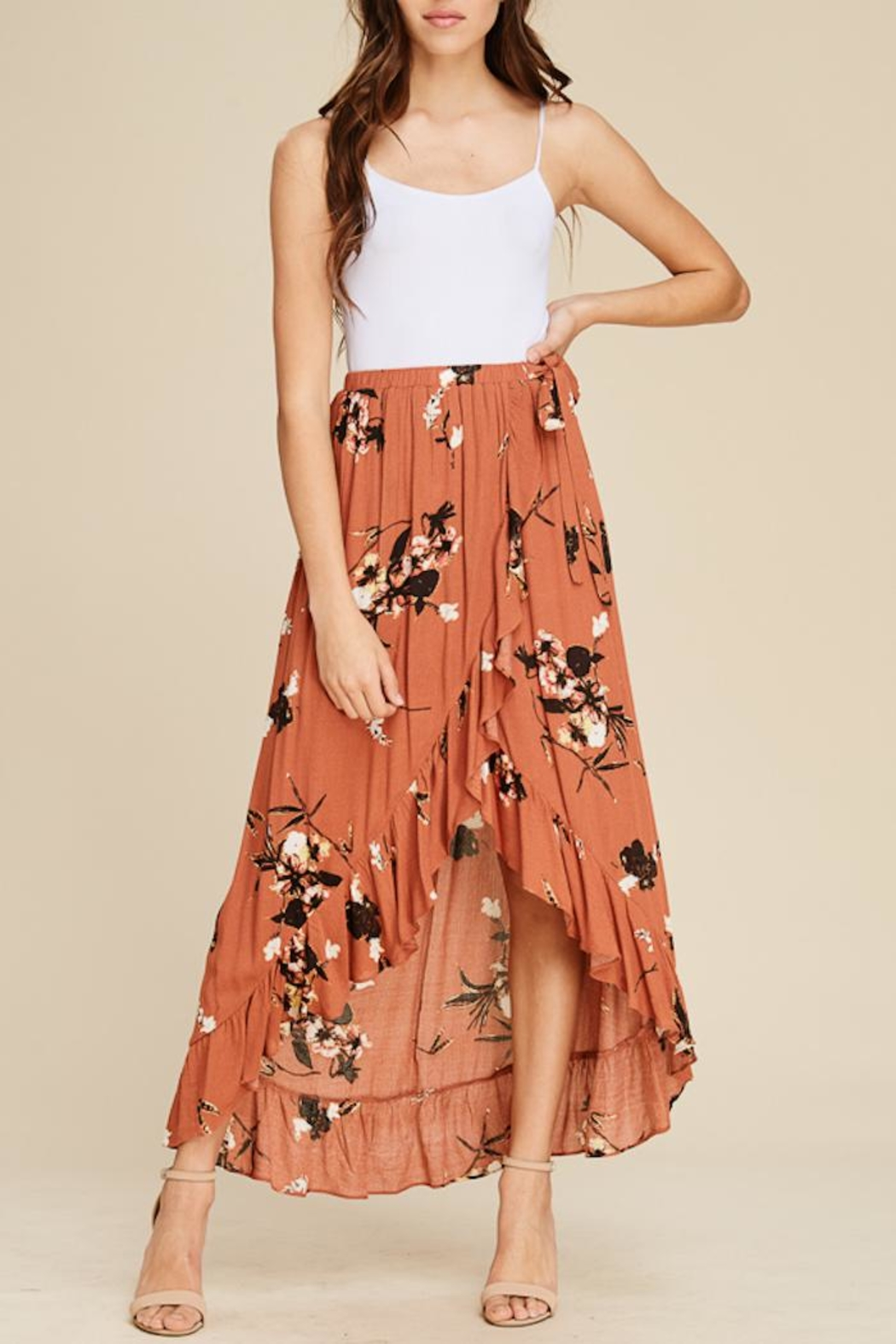 Staccato Floral Ruffle Skirt - Main Image
