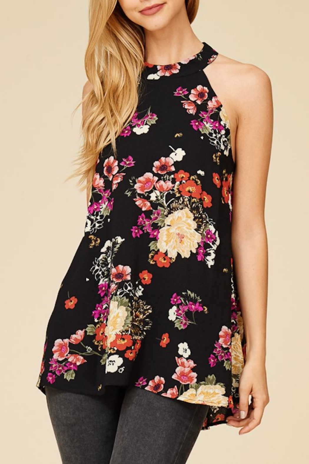 Staccato Flower Bunches Halter Top - Front Full Image