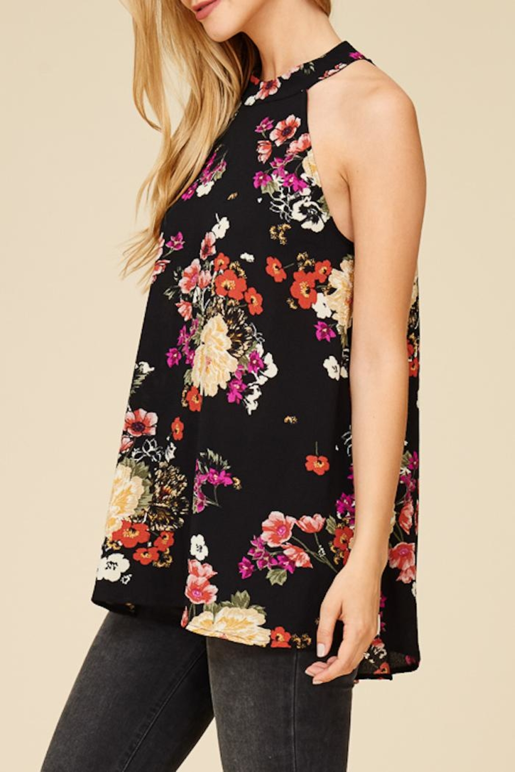 Staccato Flower Bunches Halter Top - Side Cropped Image