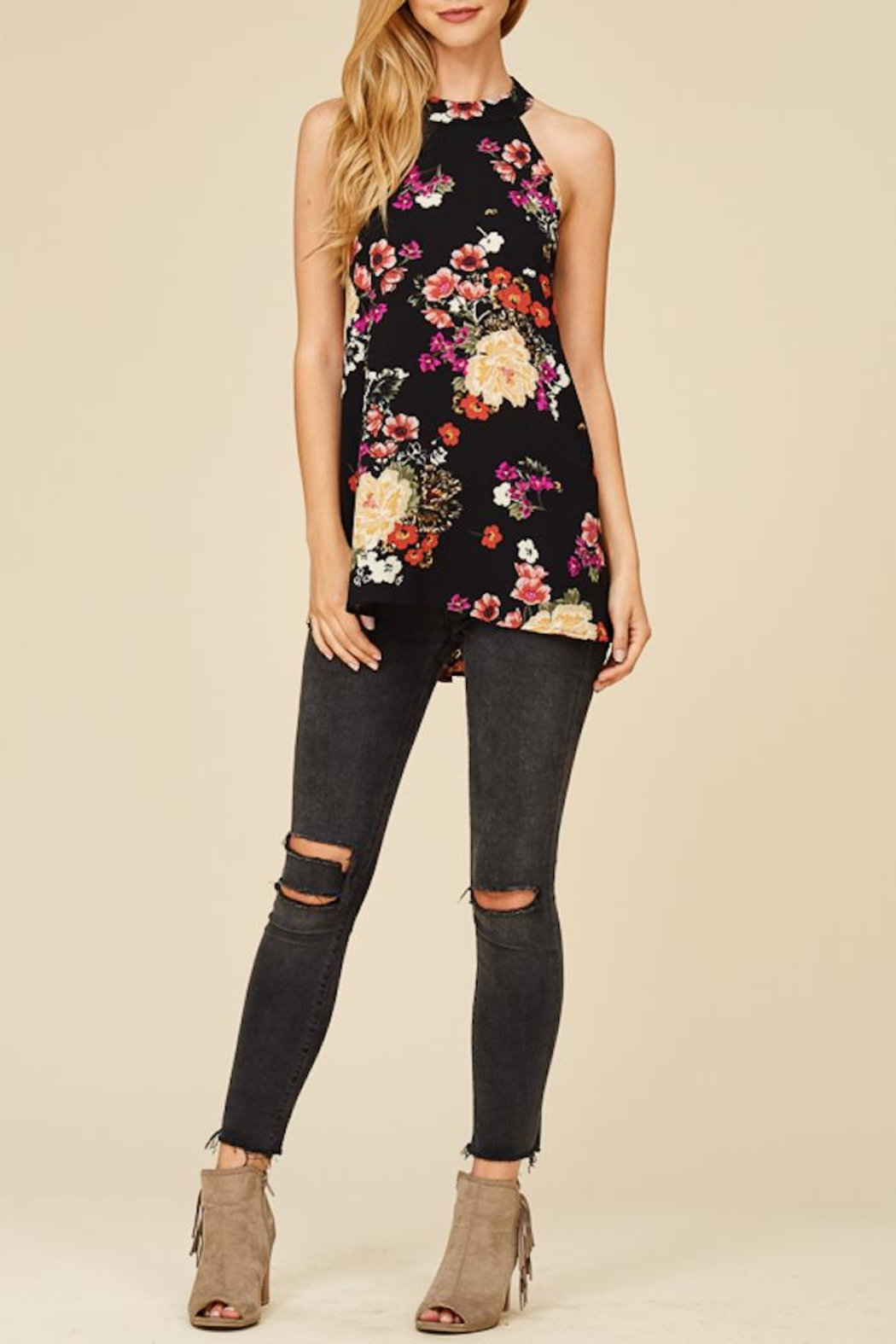 Staccato Flower Bunches Halter Top - Main Image